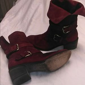 DONALD PLINER BOOTIES FOLD OVER BOOTS BLOOD RED